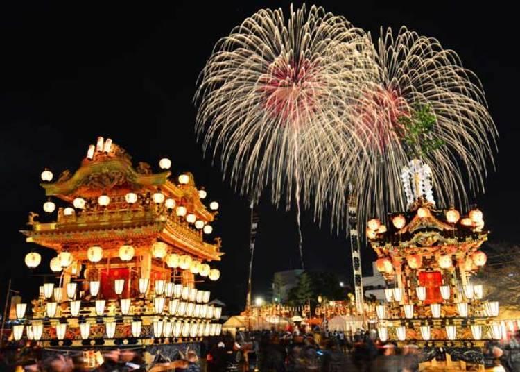 ■치치부 요마츠리의 볼거리 3) 마츠리의 밤하늘을 수놓는 거대한 불꽃(2020년은 중지)