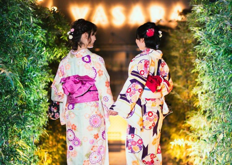기모노를 입고 아사쿠사 관광을 즐기자 '기모노 렌탈 VASARA'