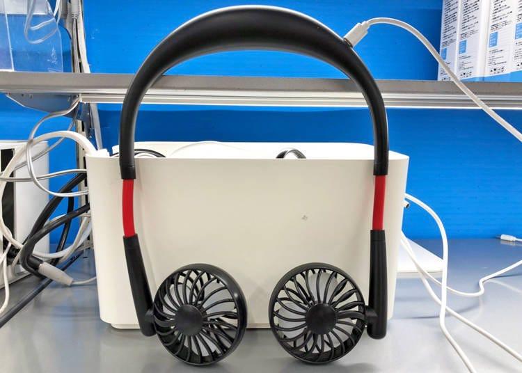 Hands-free mini fan: Aren't those headphones?