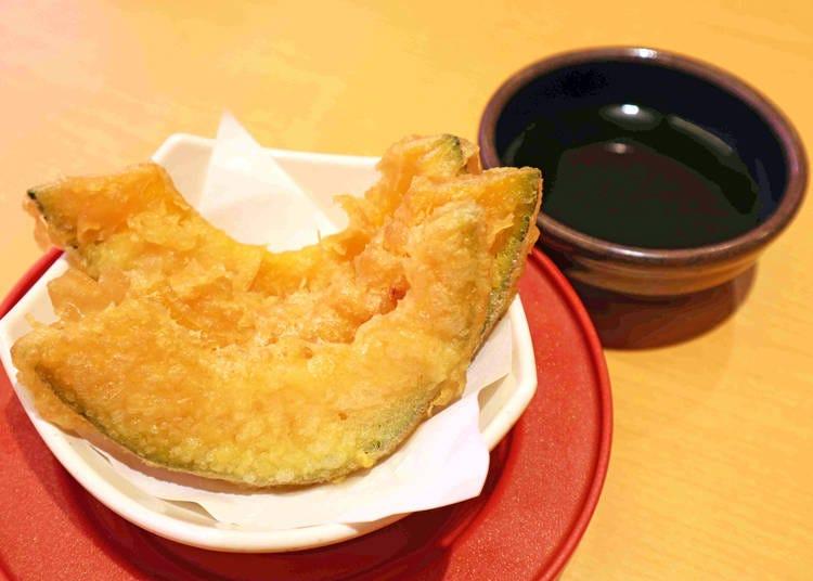 スシローおすすめサイドメニュー③揚げたてサクサク! 人気の和食「かぼちゃの天ぷら」(120円/税別)