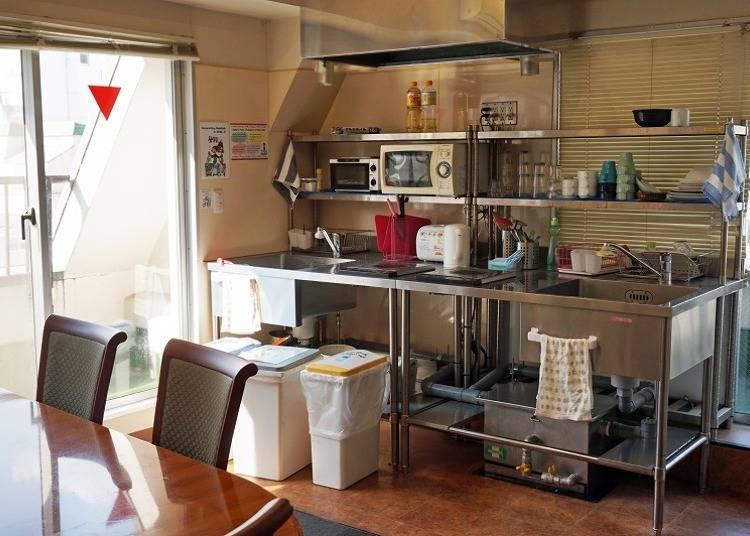 長期滞在にありがたい、共用キッチン、コインランドリー