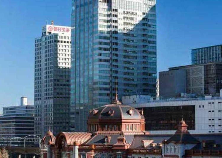 从高楼层欣赏东京车站夜景-「东京丸之内都市大饭店」