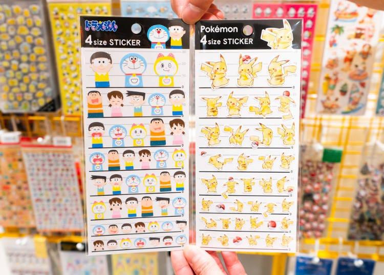 '4개 사이즈 스티커 도라에몽 프렌즈/피카츄' (200엔, 세금 별도)