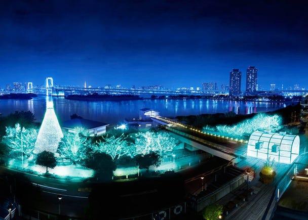 """5. 東京湾の夜景とレインボーブリッジを背景に、約22万球が輝く~「お台場イルミネーション""""YAKEI"""" 冬Ver.」"""