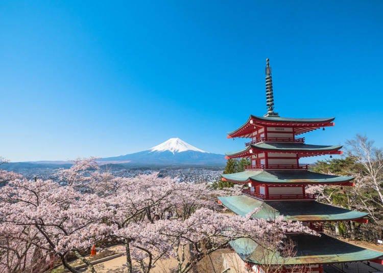 富士五湖地區觀光景點1. 富士山與忠靈塔共織夢幻美景「新倉山淺間公園」