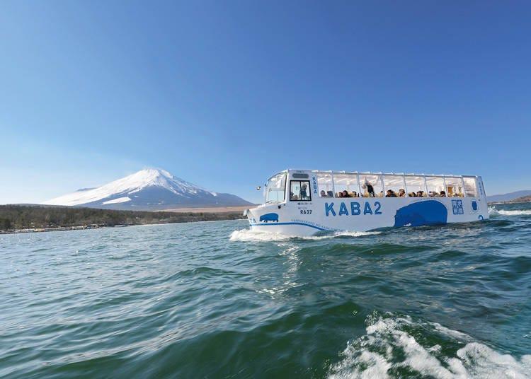 수륙양용버스 'YAMANAKAKO NO KABA'로 후지5호 최대 규모인 야마나호를 다이나믹하게 즐기다