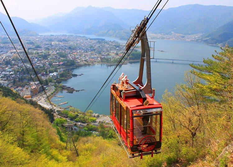从1075公尺高望见的辽阔全景视野「河口湖富士山全景缆车」