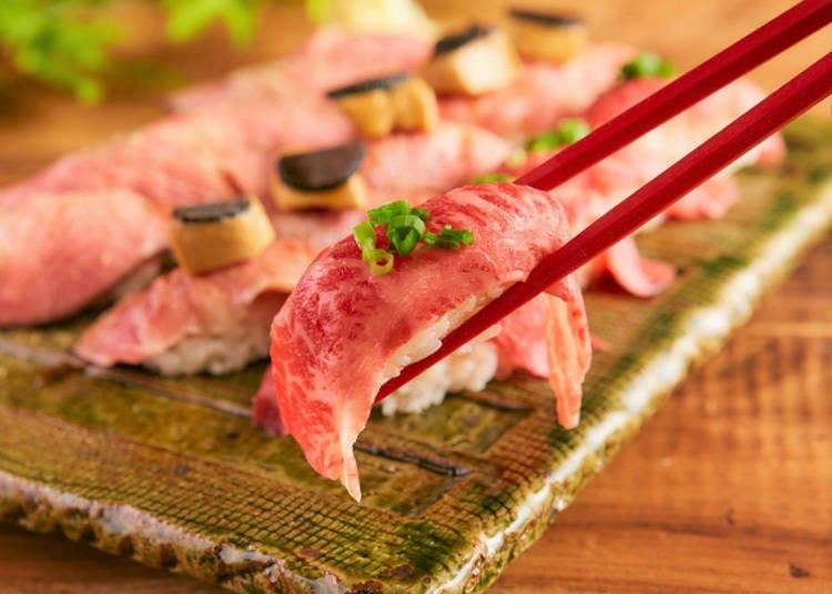 コスパ抜群! 6種の肉寿司が贅沢に食べ放題【北千住 肉寿司】