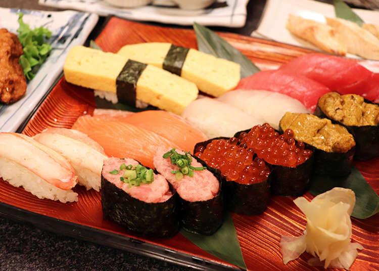 신주쿠에서 초밥 뷔페를 즐기고 싶다면 바로 이곳을 추천한다! 약 80종류의 초밥을 3000대라는 믿기 어려운 가격으로 제공하는 '기즈나 스시 신주쿠가부키초점'이다.
