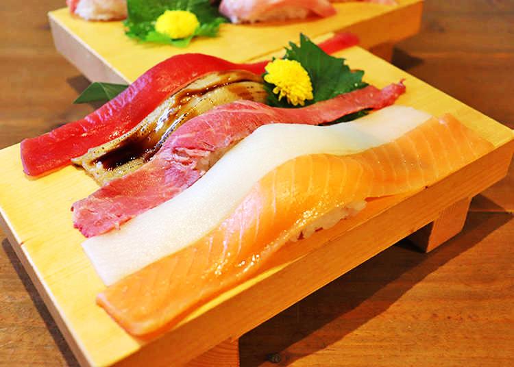 길이 20cm 이상의 큼직한 생선이 올리간 초밥 뷔페를 2999 엔으로 즐기다! 인기 급상승 중인 '스시사카바 후지야마'에 다녀왔다.