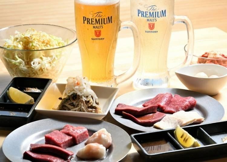 「烤肉 笑 秋叶原本店」午间餐点、附喝到饱的豪华套餐也叫人盛情难却!