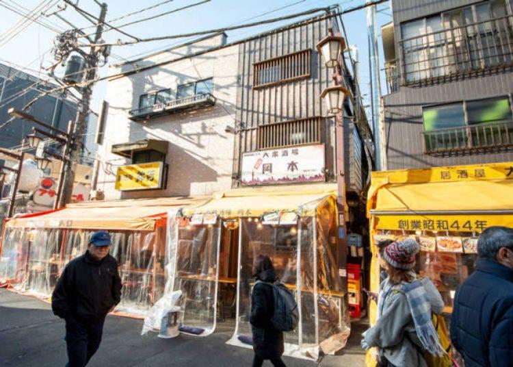 PM6:00 홋피도리에 있는 '서민술집 오카모토'에서 서민 동네의 분위기를 만끽