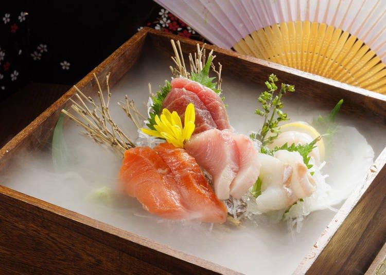 인기 메뉴 '제철 생선 다마테바코'(1500엔, 세금 불포함)