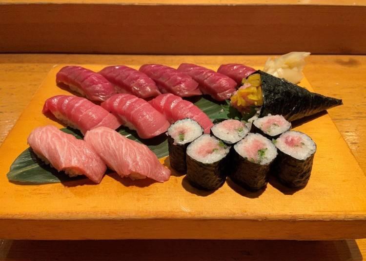 板前壽司必吃①一次將鮪魚的精華滋味給嚐遍!板前壽司「最強黑鮪魚組合」