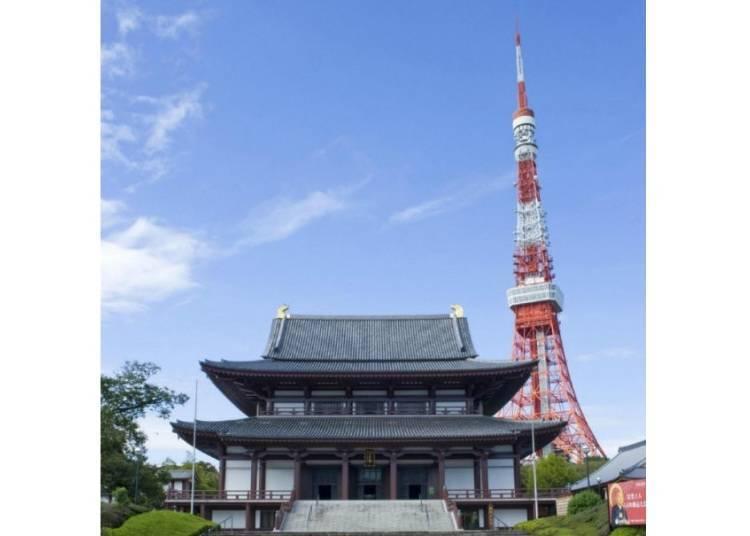 5.「增上寺」以東京鐵塔為背景的莊嚴日本寺院