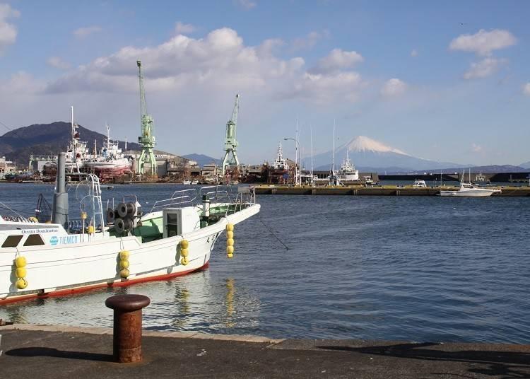 4. Mt. Fuji with fishing boats: Kogawa Port boats make for fun framing