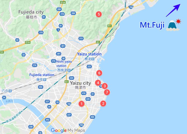 富士山7景はここ!マップで位置確認