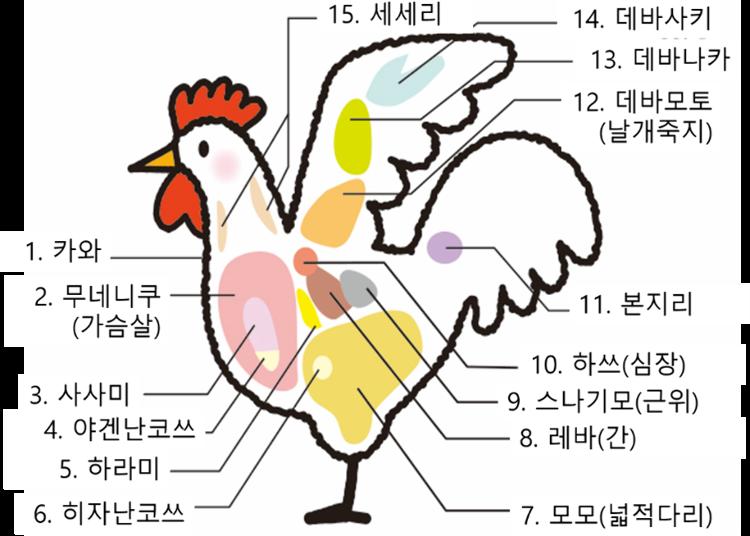 닭고기의 부위별 명칭과 특징