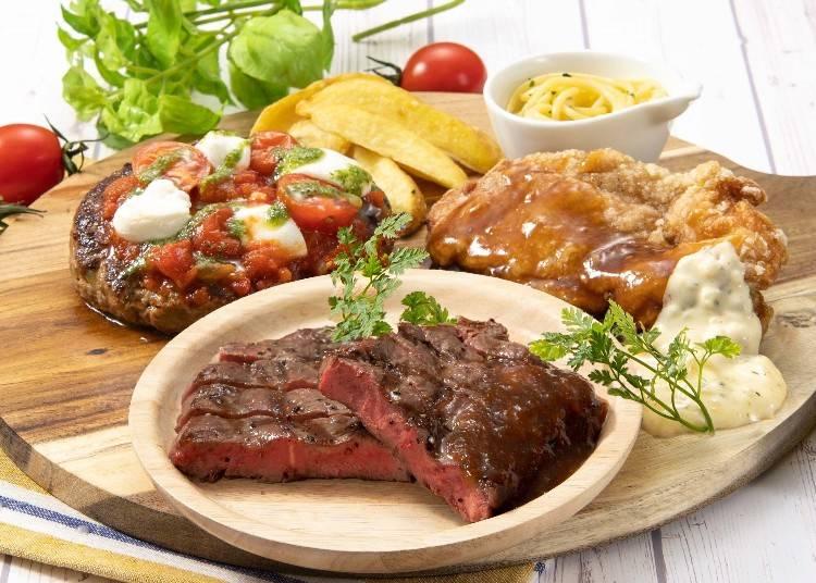 1カ月間の期間限定!本格赤身肉もついたステーキガスト「3種の肉盛りコンボ」