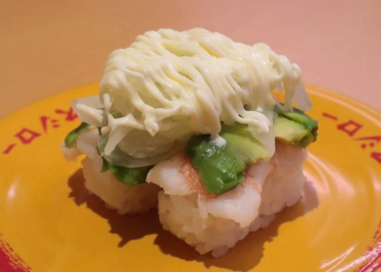 Shrimp Avocado: The #3 most popular item on the regular menu! (132 yen per plate)