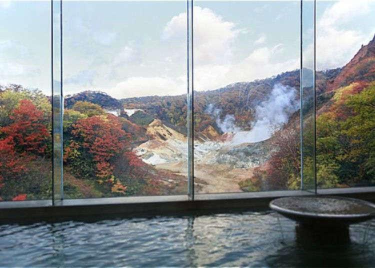 "Explore the five types of ""Live Springs"" at the Dai-ichi Takimotokan in Noboribetsu Onsen"