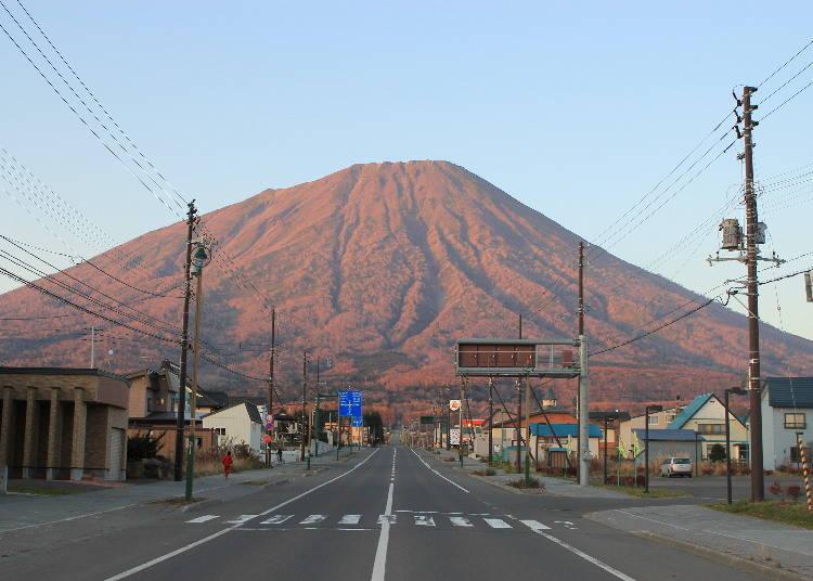 Mt. Yotei scenic views #3: Mt. Yotei, Red Fuji, glowing in the evening sun