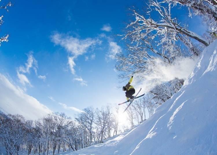 Wild off-piste skiing