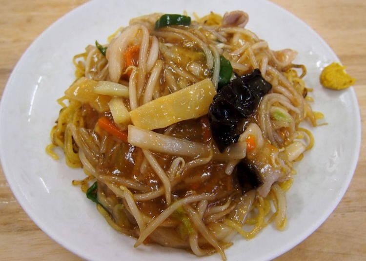 Otaru cuisine No. 2: Ankake Yakisoba and Niwatori no Hanmi-age