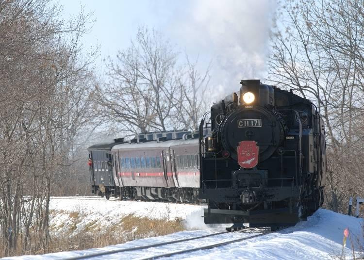 SL Winter Wetland Train: Steam train running through Hokkaido's winter wonderland! (Seasonal railway)