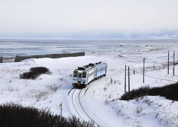 겨울 한정! 오호츠크 해 연안에서 유빙을 볼 수 있는 계절 한정 열차 5) <유빙모노가타리호>