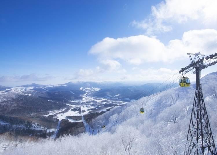 乘坐箱型纜車,邊觀賞美景邊前往「霧冰平台」