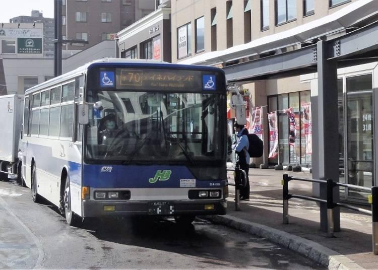 ●搭乘往TEINE Highland的JR北海道巴士前往「SAPPORO TEINE」