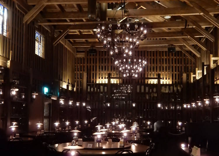 Kitaichi Hall bathed in the soothing light of many lamps