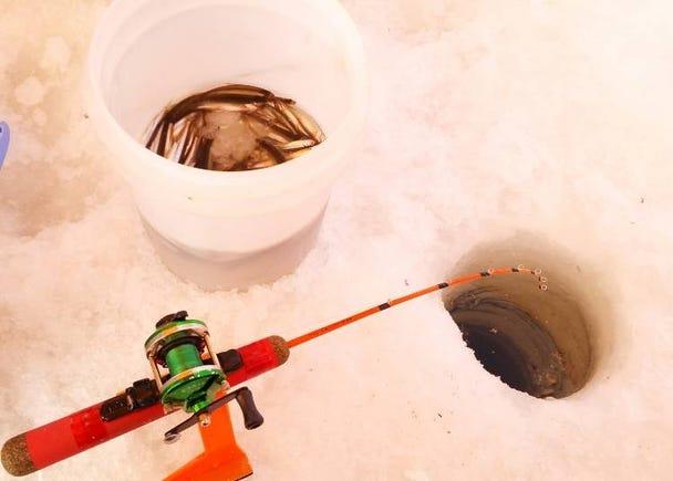 2.凍った湖の上で楽しむ「ワカサギ釣り」
