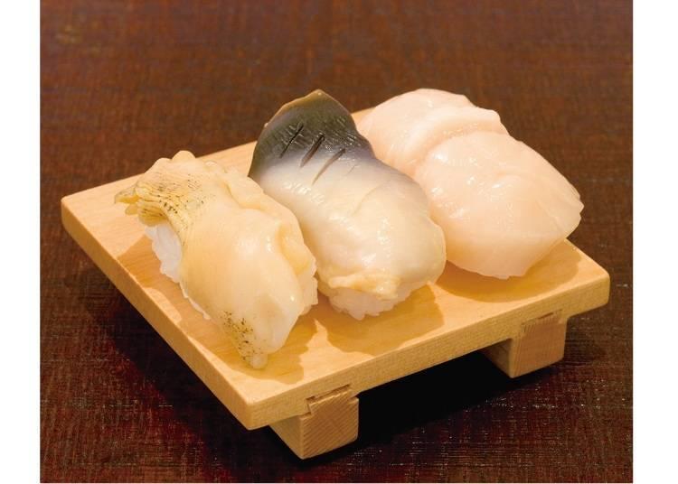 홋카이도의 인기 조개를 한 접시에! '가이즈쿠시 3텐모리(조개 모둠 3종)'