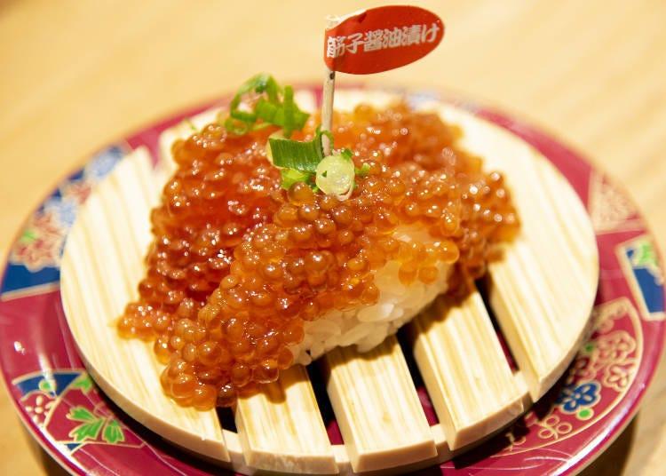 拿出照片點餐的客人陸續出現!「醬油醃漬鮭魚筋子(紅鮭筋子醤油漬け)」※筋子是有薄膜的鮭魚卵
