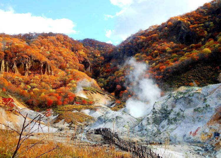 北海道道央紅葉景點⑥登別市最大的泉源地帶「登別地獄谷」(登別)