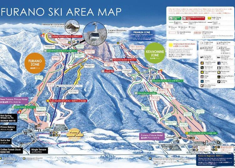 富良野滑雪場的滑雪路線介紹