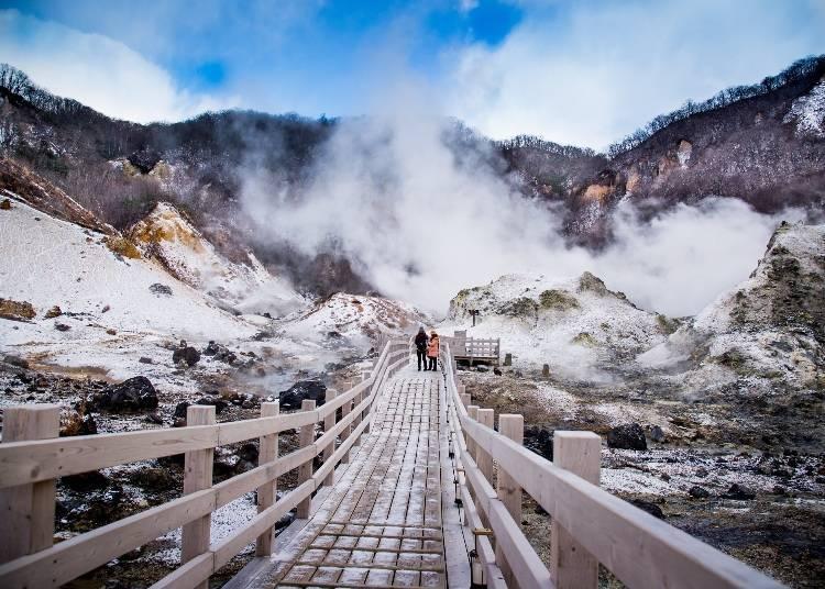 4. Enjoy spectacular views and hot springs at Noboribetsu Jigokudani and Noboribetsu Onsen