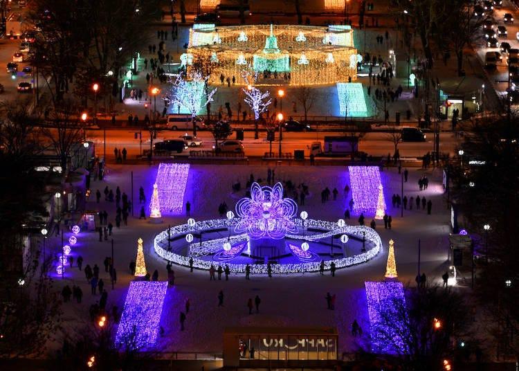 2. 在彩燈景點拍美照「札幌白色燈樹節」
