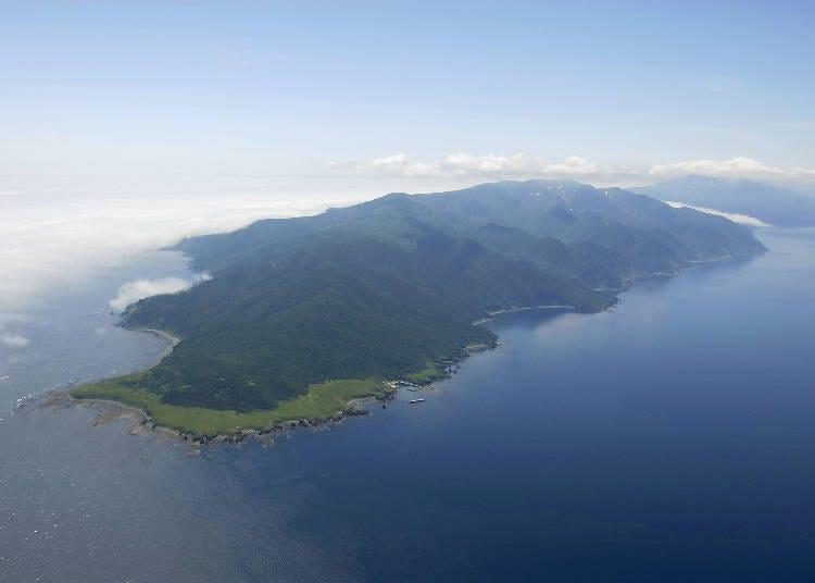 1)雄大な自然が目の前に迫る。「海からの知床」