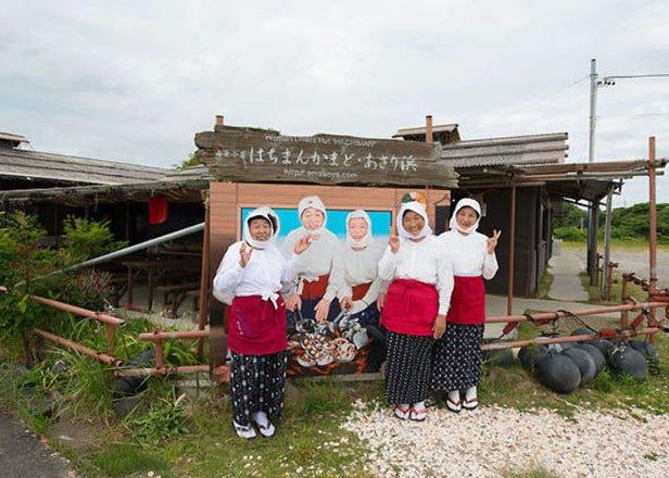 '하치만카마도'의 해녀 오두막 체험. 진짜 해녀들의 이야기를 들으며 해산물 석쇠구이를 즐기자!