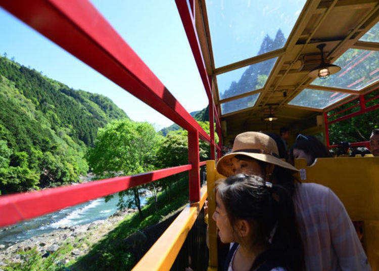 Kyoto's Torokko Train: Travel Through a Verdant Tunnel with Magnificent Views on the Sagano Romantic Train!