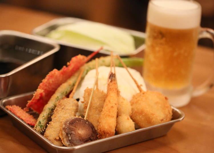 6. Go out at night and grab some kushikatsu!