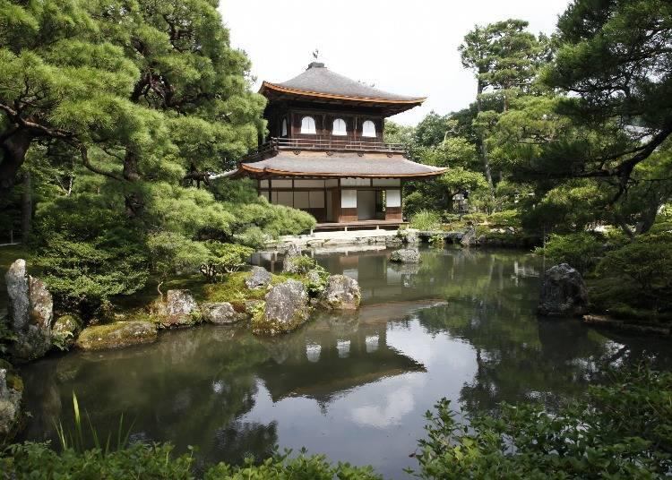 Ginkaku-ji Temple, standing at the base of Kyoto's eastern mountains