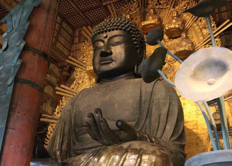 「東大寺」的大佛和其建築物皆為世界最大規模