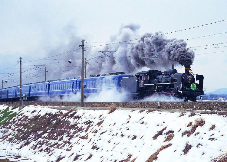 蒸気を上げながら走る「SL北びわこ号」