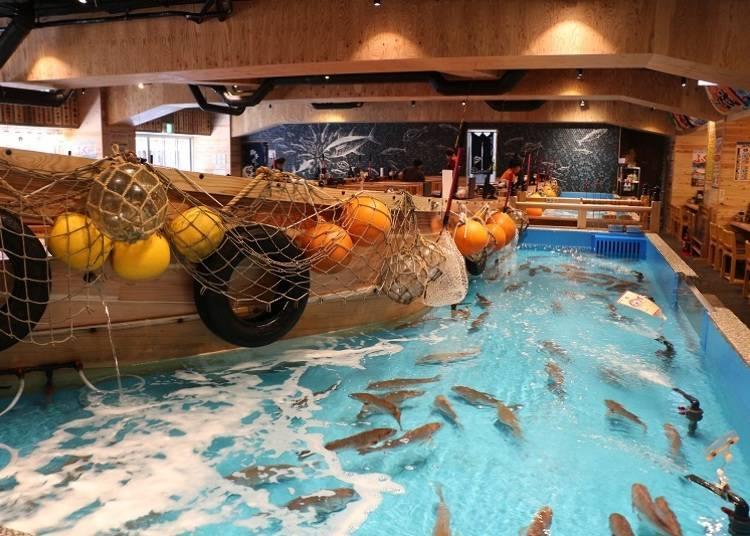 大阪24小時餐廳①可以體驗釣魚樂趣的居酒屋「Jumbo-tsuribune Tsurikichi」