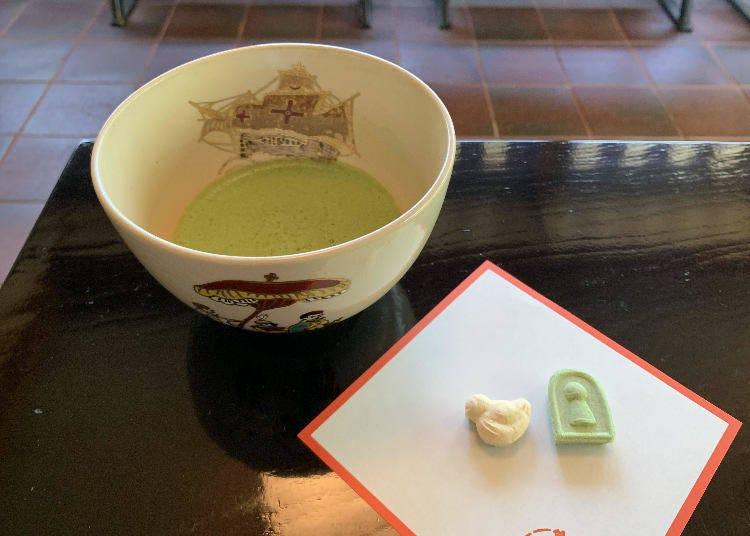 """""""古墳""""なお茶菓子と共に、お抹茶体験してみよう"""
