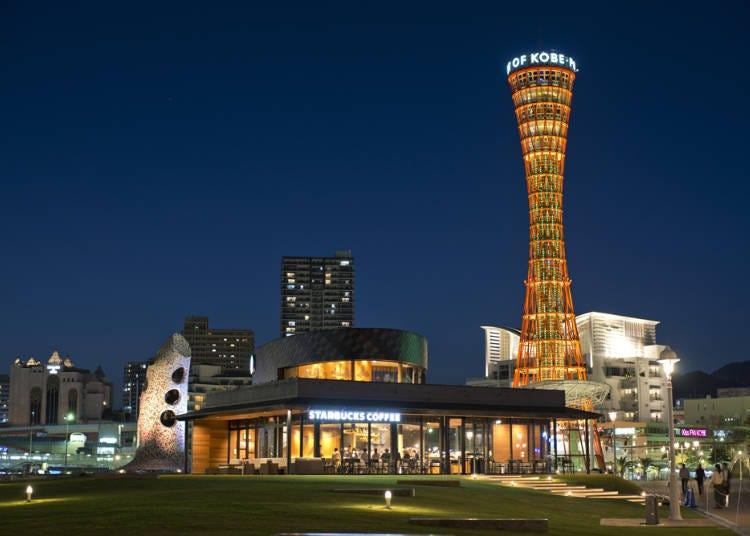 Day 3/Night: Sparkling night to remember in Kobe (Meriken Park Night View ➡ Harborland's Mosaic Big Ferris Wheel)